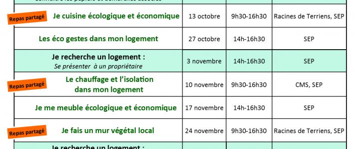 Programme des ateliers Eco'Loge Toit Septembre – Décembre 2016