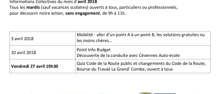 Calendrier pôle insertion avril 2018