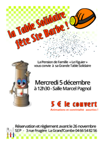 affiche table solidaire STE BARBE