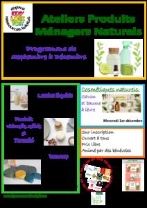 Programme Ateliers Produits Ménagers Naturels Septembre à Décembre 2021